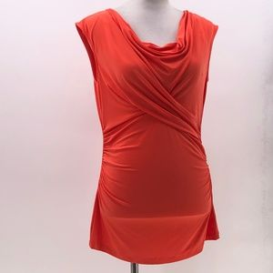 Vince Camuto orange ruched blouse sz M Medium